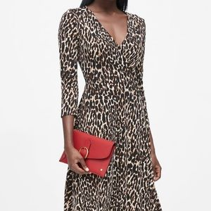 Banana Republic Leopard Fit and Flare Wrap Dress